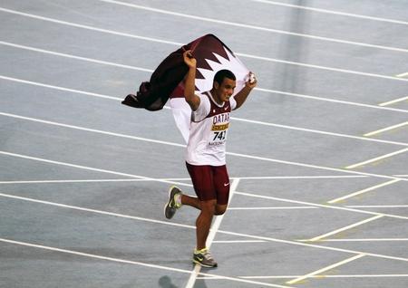 lancer marteau: Ashraf Amgad Elseify du Marteau Hommes Qatqr victoires � deux pas final sur les Championnats du monde junior le 14 Juillet 2012, � Barcelone, Espagne Editeur