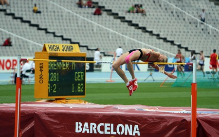competes: BARCELONA, SPAIN - JULY 15  High jumper Melina Brenner competes in the high jump on the 2012 IAAF World Junior Athletics Championships on July 15, 2012 in Barcelona, Spain