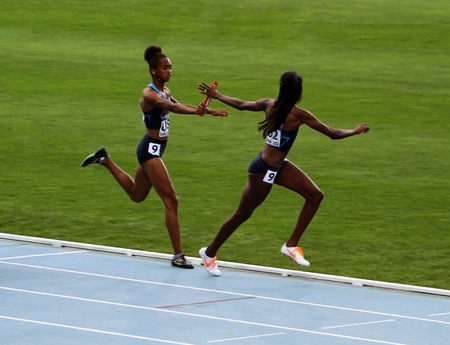 American team - the winners of the 400 meters relay race on th 2012 IAAF World Junior Athletics Championshipson on July 15, 2012 in Barcelona, Spain