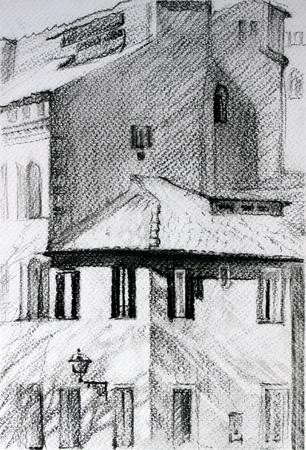 鉛筆で描かれたローマの景観 写真素材