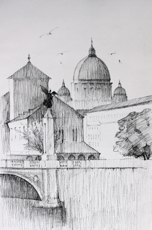 Roman cityscape of the Vatican City  painted by ink photo