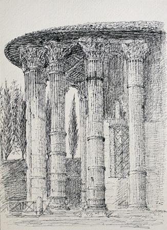 templo romano: El Templo de Vesta en Roma, Italia Foto de archivo