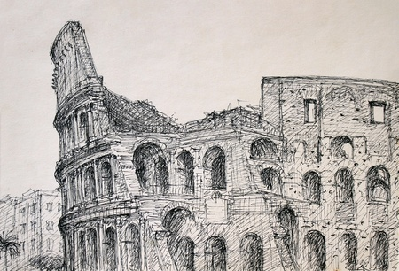 italia: Roman cityscape of the Colosseum painted by ink