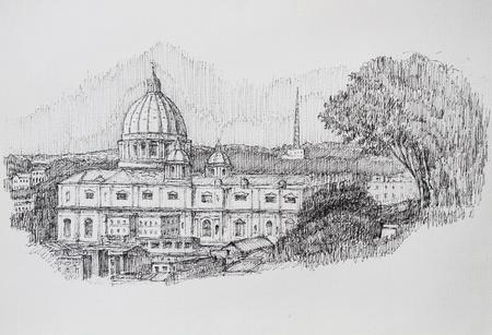 잉크 그린 대성당 산 피에트로 로마 도시