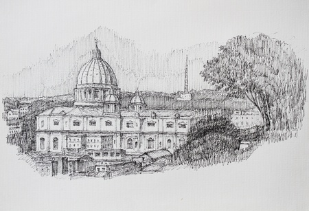 pietro: Roman cityscape of the Basilica San Pietro painted by ink