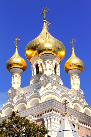 russian easter: Alexander Nevsky Orthodox church with golden domes in Yalta. Crimea. Ukraine. Stock Photo