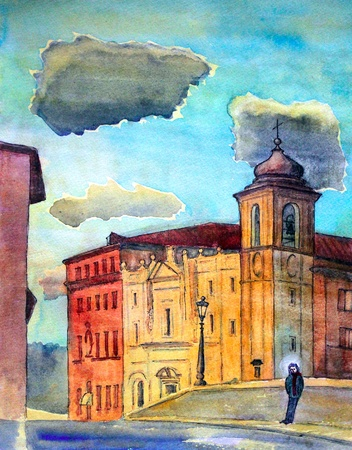 historical romance: Roman cityscape with a man standing on the Fabricius Bridge  Ponte Fabricio ,  Ponte dei Quattro Capi  and buildings on the Tiber Island painted by watercolor