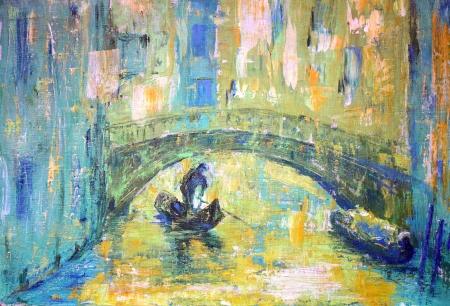 Ein Blick auf den Kanal mit Boot und Brücke in Venedig
