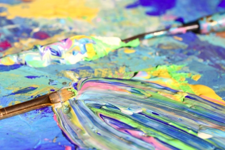 art gallery: Closeup of brush and palette