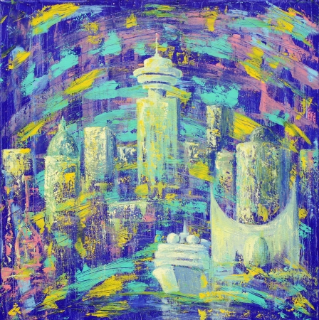 vancouver city: Abstract painting of the Vancouver City  Stock Photo