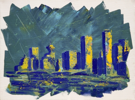vancouver: Abstract painting with Vancouver towers Stock Photo