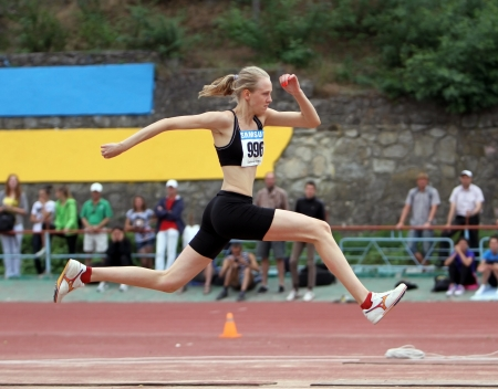 Nalivaiko Ylia competes in the triple jump competition on Ukrainian Track   Field Championships on June 02, 2012 in Yalta, Ukraine