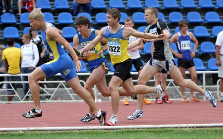 Mens relay race on the Ukrainian Track   Field Championships on June 02, 2012 in Yalta, Ukraine