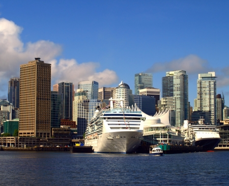 Vancouver Canada cityscape with cruise ships
