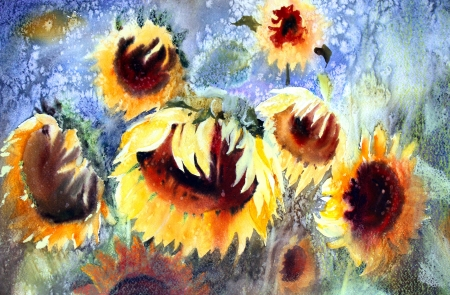 Watercolor painting of beautiful sunflowers. Stock Photo