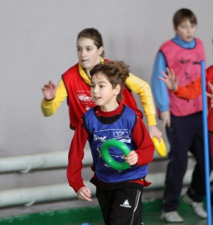 Children on the IAAF (International Association of Athletics Federations) Kids Athletics competition on February 10, 2012 in Donetsk, Ukraine