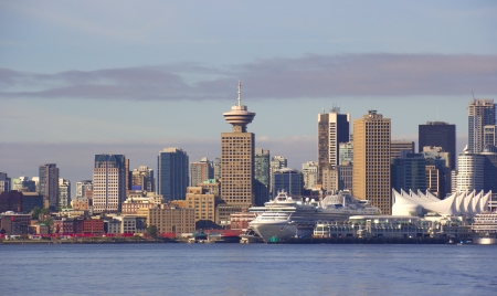 vancouver: Vancouver Canada cityscape with cruise ships. Stock Photo