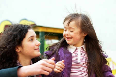 Portrait of beautiful young girls on the playground Stock Photo - 17574160