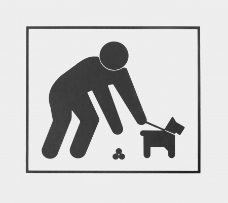 poo: Sign requiring dog owners to pick up the animal waste.