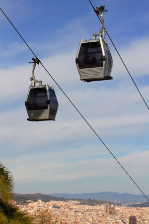 cableway: Ropeway on background of the panoramic view of Barcelona, Spain