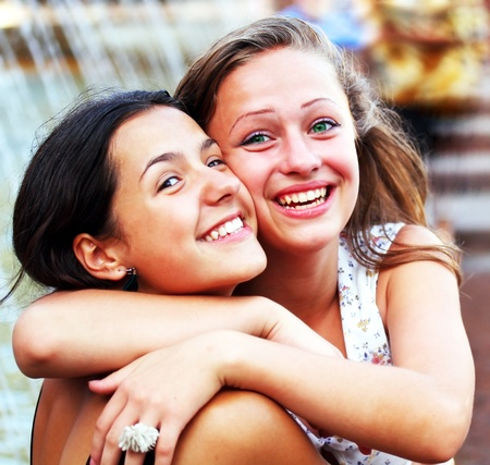 teen girls: Students girls having fun outside