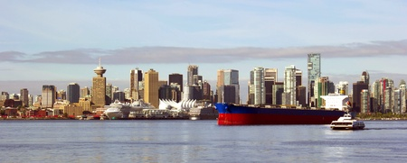 bc: Vancouver Canada panoramic cityscape with ships Stock Photo