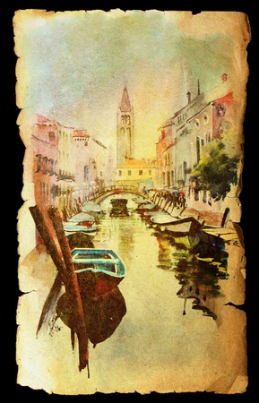 A view of the canal with boats and buildings in Venice, painted by watercolor on the vintage old paper photo