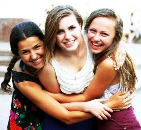 positive feelings: Students girls having fun outside