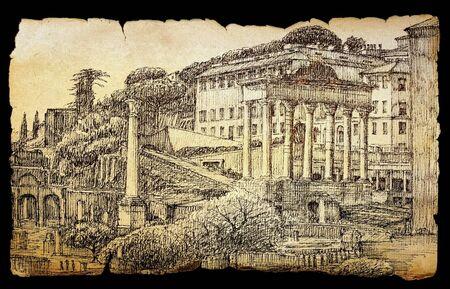 Roman Forum urbain peint à l'encre sur le vieux papier isolé sur fond noir