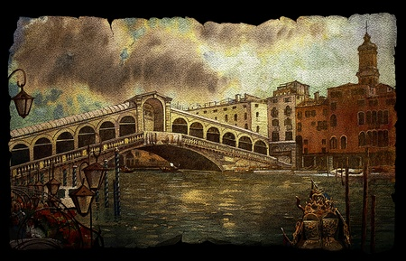 antique: A view of the canal with Rialto bridge, boats and buildings in Venice on vintage old paper isolated on black