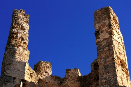 knights templar: Ruins of Old castle of the Knights Templar in Alcala de Xivert, Spain. Stock Photo