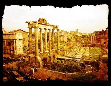 Le forum romain à Rome sur le vieux fond de papier isolé sur fond noir.