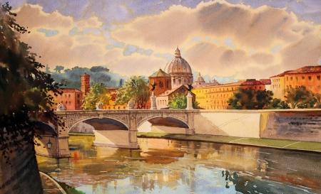 tevere: Basilica Sant Pietro, Tiber river and Ponte Vittorio Emanuele, Vatican, Rome, Italy.