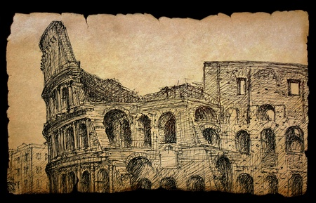 colosseo: Roman cityscape of the Colosseum painted by ink on old paper, isolated on black. Stock Photo