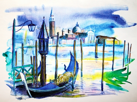 venice gondola: A view with boat in Venice, painted by watercolor Stock Photo