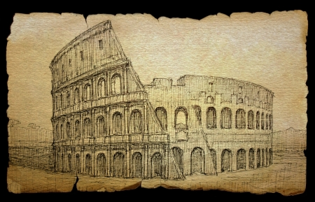 rom: Colosseum painted by ink on old paper, isolated on black. Stock Photo