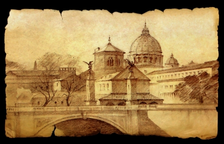 Basilica San Pietro in Rome, Italy painted on vintage old paper  isolated on black.