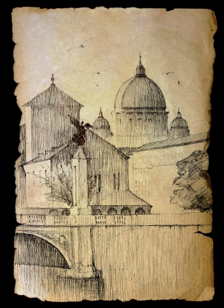 Basilica San Pietro in Rome, Italy painted on vintage old paper  isolated on black. photo