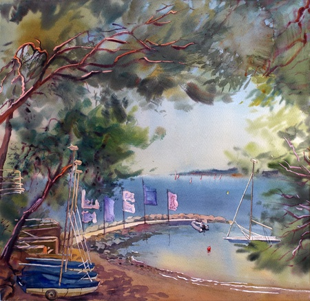 azur: Watercolor painting landscape of sunset in the Cote dAzur, France.
