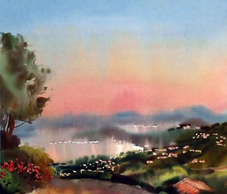 francia: Acuarela del paisaje de la pintura de la puesta de sol en la Costa Azul, Francia.