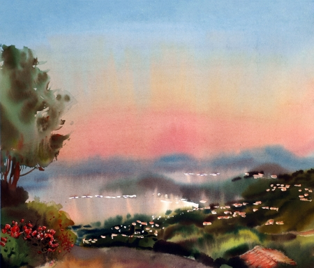Watercolor painting landscape of sunset in the Cote dAzur, France.