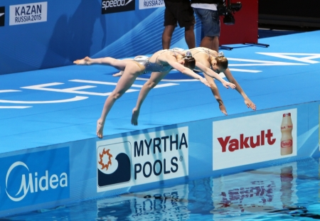 duet: Svetlana Romashina and Svetlana Kolesnichenko  Russia  winners in Duet Technical Routine Synchronised Swimming on 15th FINA World Championships on July 21, 2013 in Barcelona,Spain Editorial
