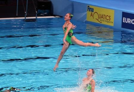 piscina olimpica: El equipo coreano en la combinaci�n libre Nataci�n sincronizada en el Campeonato Mundial FINA 15o el 21 de julio de 2013 en Barcelona, ??Espa�a