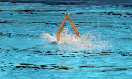the olympic swimming pool svetlana romashina and svetlana kolesnichenko russia winners in duet