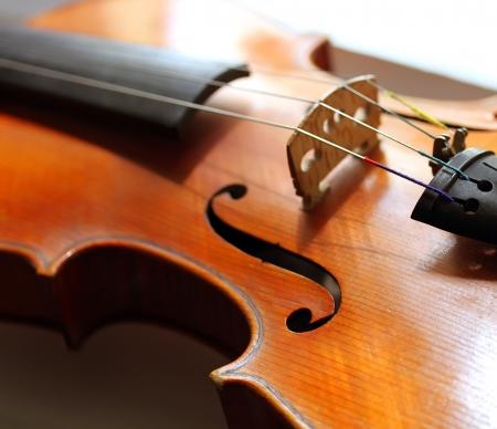 close shot: Close up shot of a violin Stock Photo