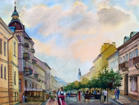 impressive: Watercolor painting of the cityscape of the Chernivtsi city, Ukraine.