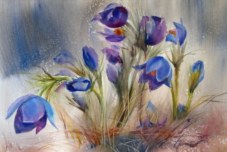 Watercolor painting of the beautiful spring flowers. photo