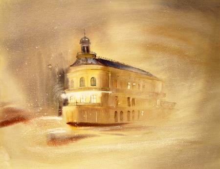 chernivtsi: Watercolor painting cityscape of the Chernivtsi city, Ukraine