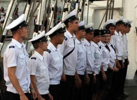Russian Sea Cadets from Ship Kruzenshtern on Mediterranean Tall Ship Regatta 2013 on September 22, 2013 in Barcelona,Spain
