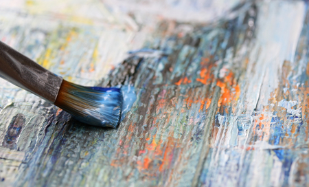 color mixing: Closeup of brush and palette